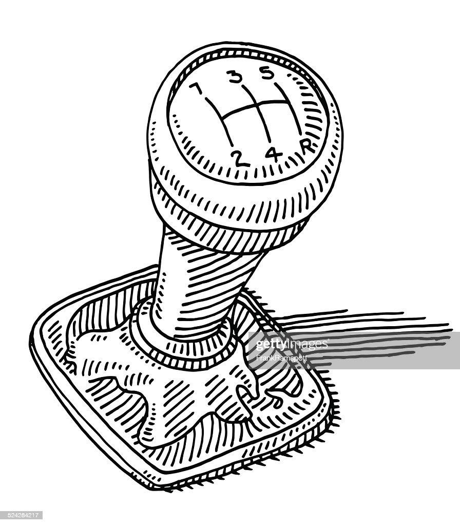 Gearshift Knob Car Part Drawing : stock illustration