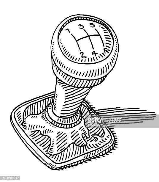 gearshift knob car part drawing - gearshift stock illustrations, clip art, cartoons, & icons