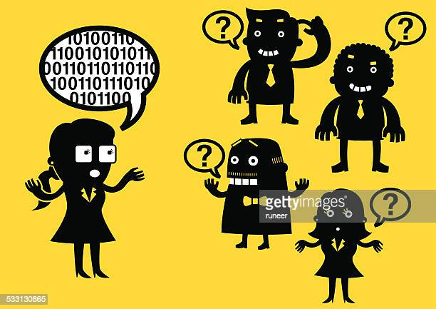 geek girl language (codes) | yellow business concept - communication problems stock illustrations, clip art, cartoons, & icons