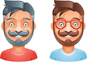 Geek Hipster Mustache Vintage Glasses Bangs Male Cute Avatar Heads Flat Design Template Vector Illustration