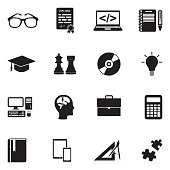 Geek Icons. Black Flat Design. Vector Illustration.
