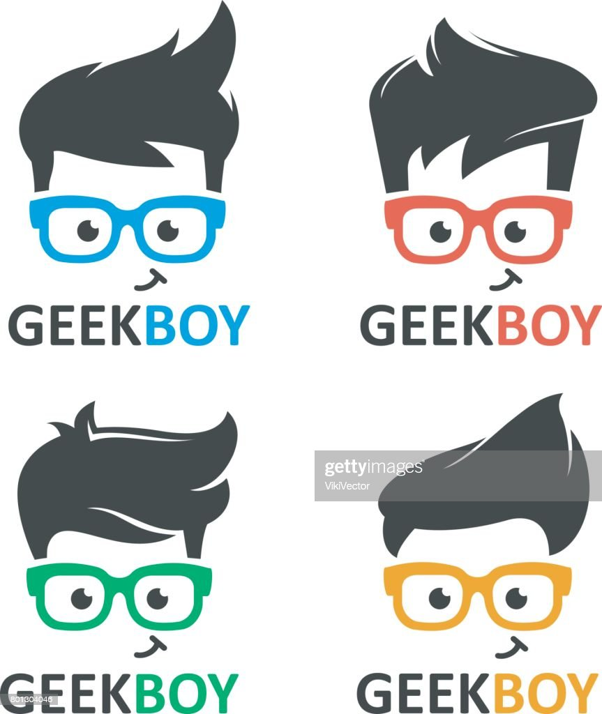 Geek or nerd logo vector set