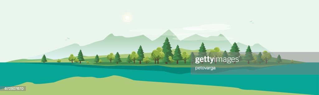 Geen Mountain Landscape with Trees Nature Background