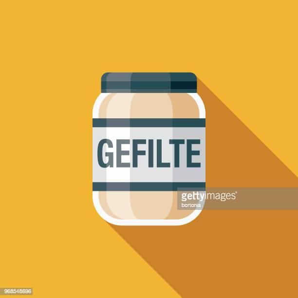 gefilte fish flat design hanukkah icon - jar stock illustrations
