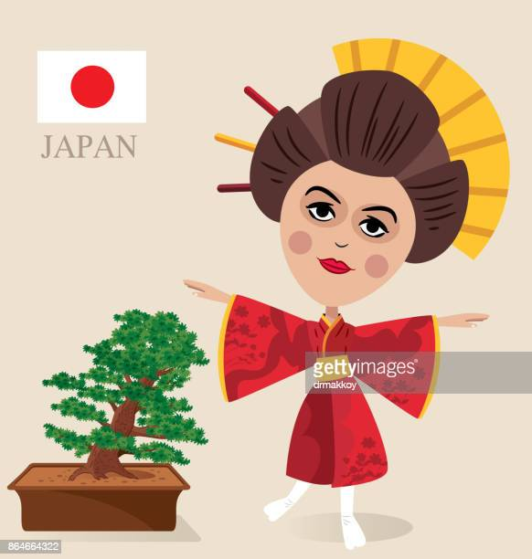 geisha and bonsai - traditional clothing stock illustrations
