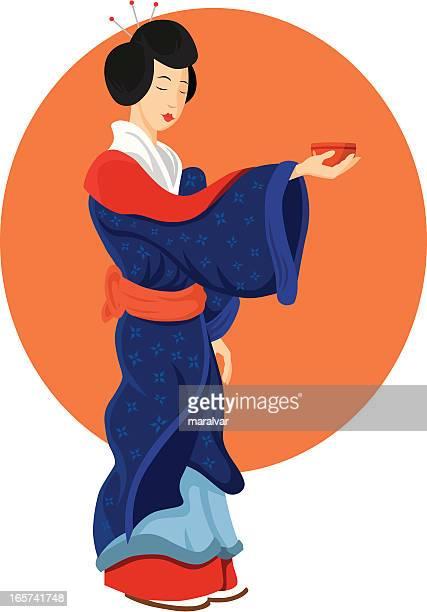 geisha japan - only japanese stock illustrations, clip art, cartoons, & icons