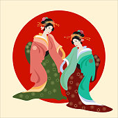 Geisha, Japanese culture, vector illustration