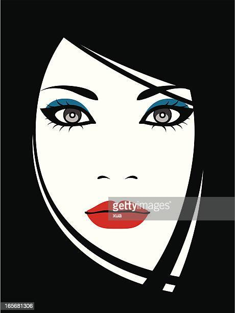 ilustraciones, imágenes clip art, dibujos animados e iconos de stock de geisha - maquillaje para ojos