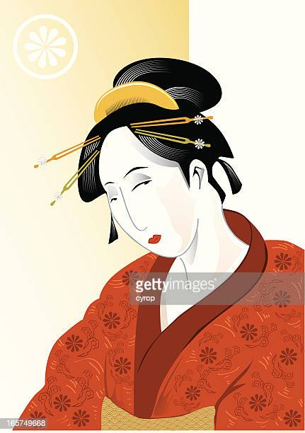 geisha - only japanese stock illustrations, clip art, cartoons, & icons