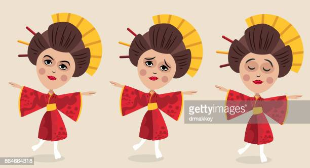 geisha - hokkaido stock illustrations, clip art, cartoons, & icons