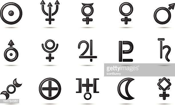 gel icons - planetary symbols - aphrodite stock illustrations, clip art, cartoons, & icons