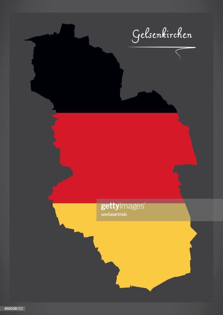 Gelsenkirchen Map With German National Flag Illustration Vector Art