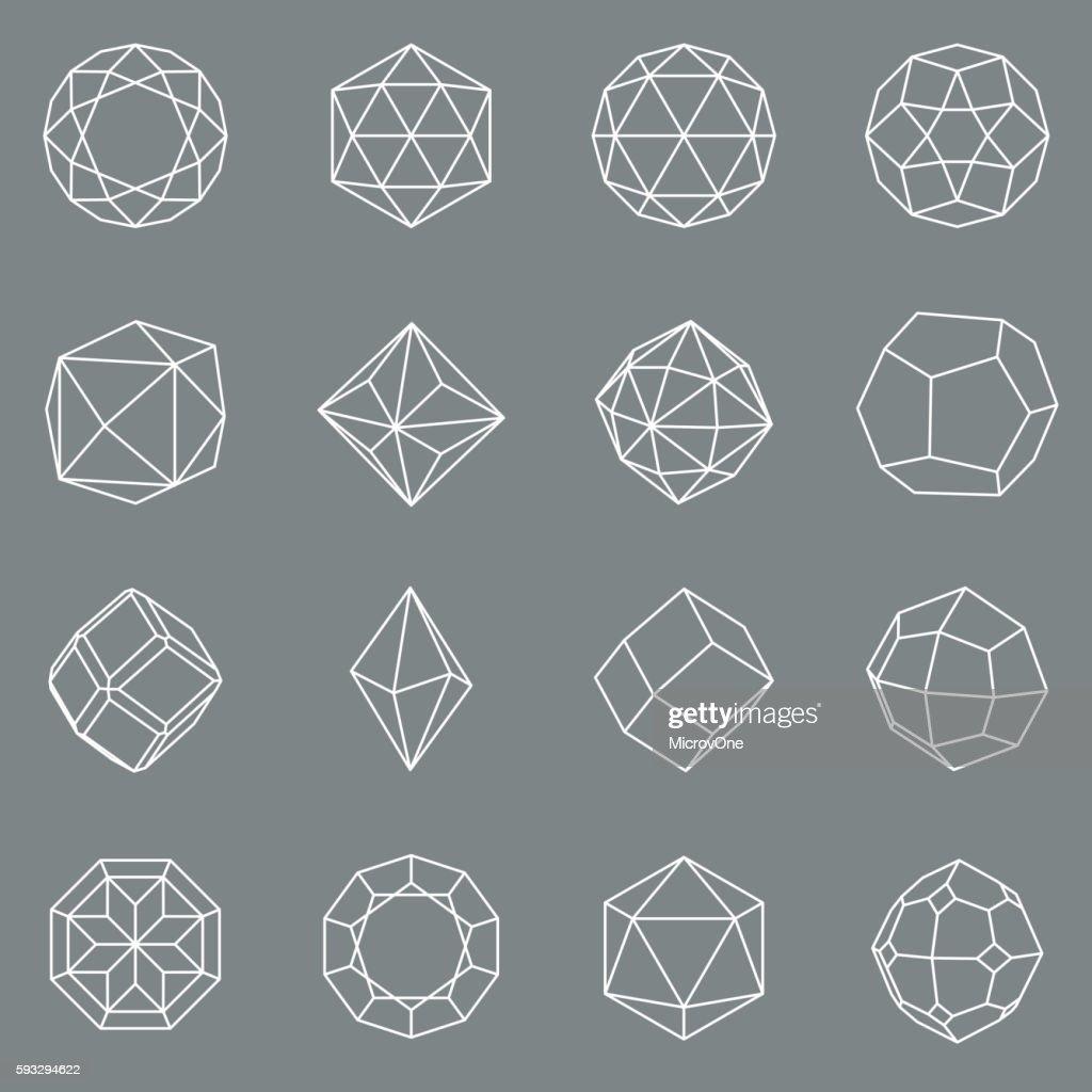 Gem crystal geometric shapes vector set
