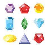 Gem set. Icon gem. Ruby, emerald, sapphire, diamond, brilliant, aquamarine different shapes, isolated on the white background. Vector jewels.