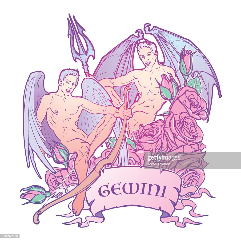 Gemini Zodiac sign with a decorative frame of roses