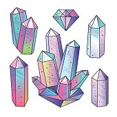 Gems, crystals isolated vector