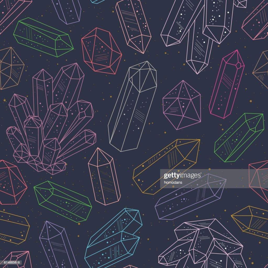 Gems, crystals line art pattern vector