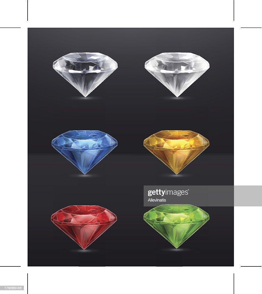 Gems set of icons, on black