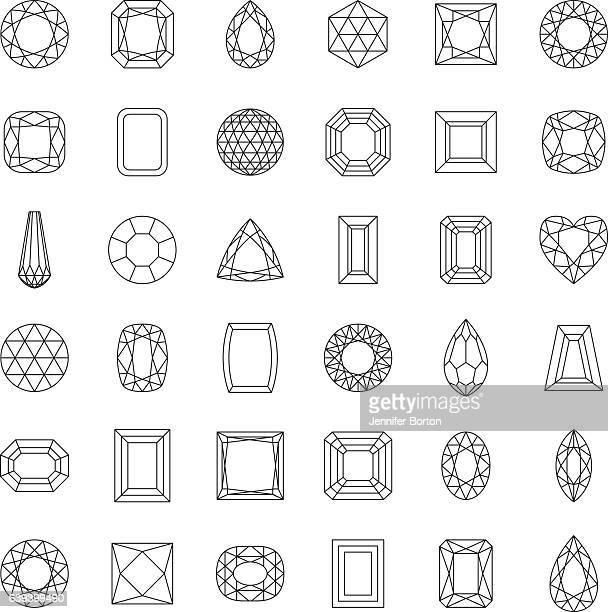 Gemstone Cuts Thin Line Icons