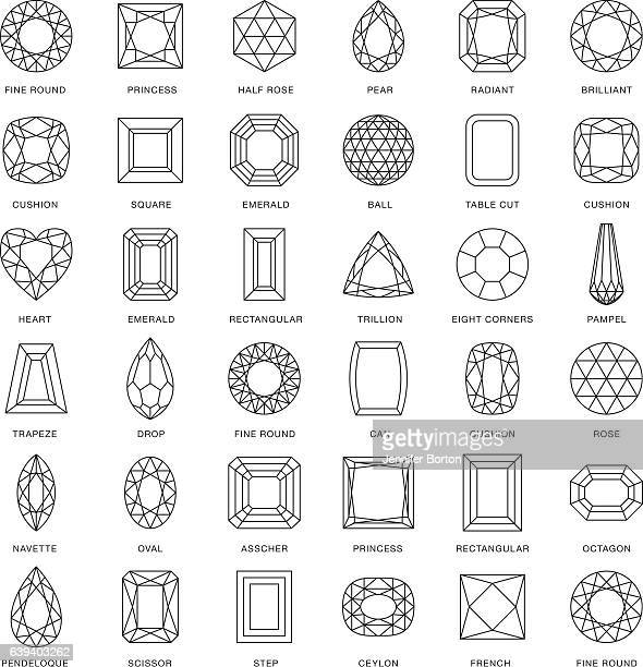 illustrations, cliparts, dessins animés et icônes de gemstone cuts thin line icons (including captions) - accessoire