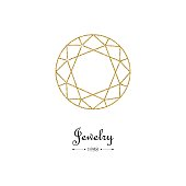Gemstone faceting gold pattern. Vector illustration.