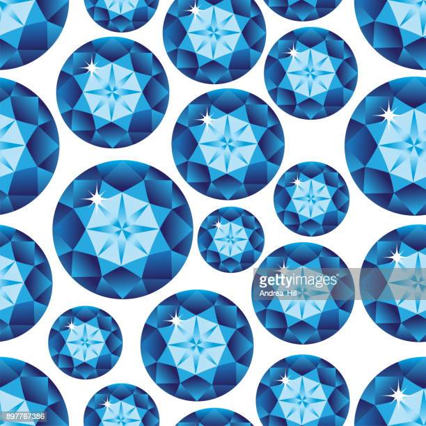 Gemstone Seamless Pattern - Blue Topaz. Vector Illustration.