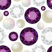 Gemstone Seamless Pattern. Vector Illustration.