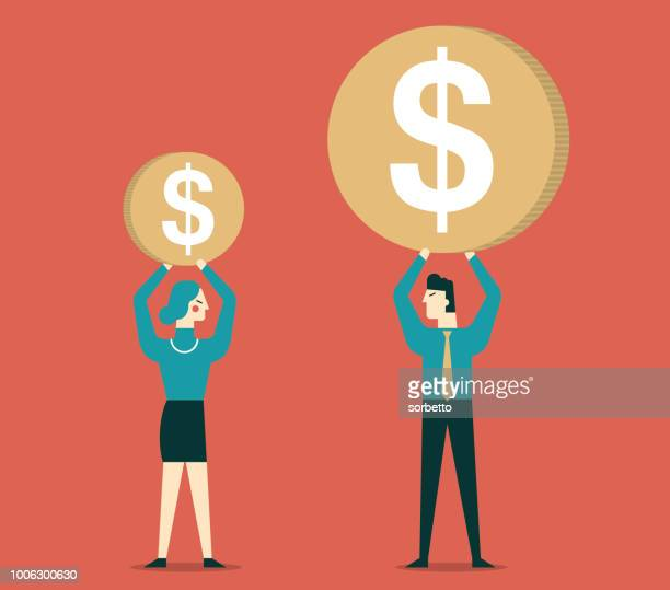 gender differences in salary - equal opportunity stock illustrations, clip art, cartoons, & icons