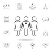 gender equality at workicon. Detailed set of people in work icons. Premium graphic design. One of the collection icons for websites, web design, mobile app