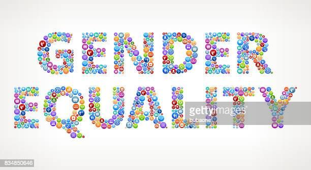 gleichstellung der geschlechter business und finance vector buttons - piktogramm collage stock-grafiken, -clipart, -cartoons und -symbole