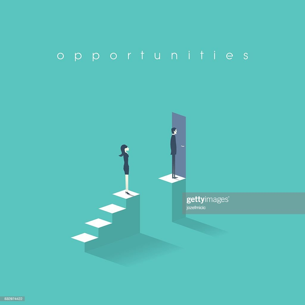 Gender equality concept with man versus woman symbol. Businessman vs