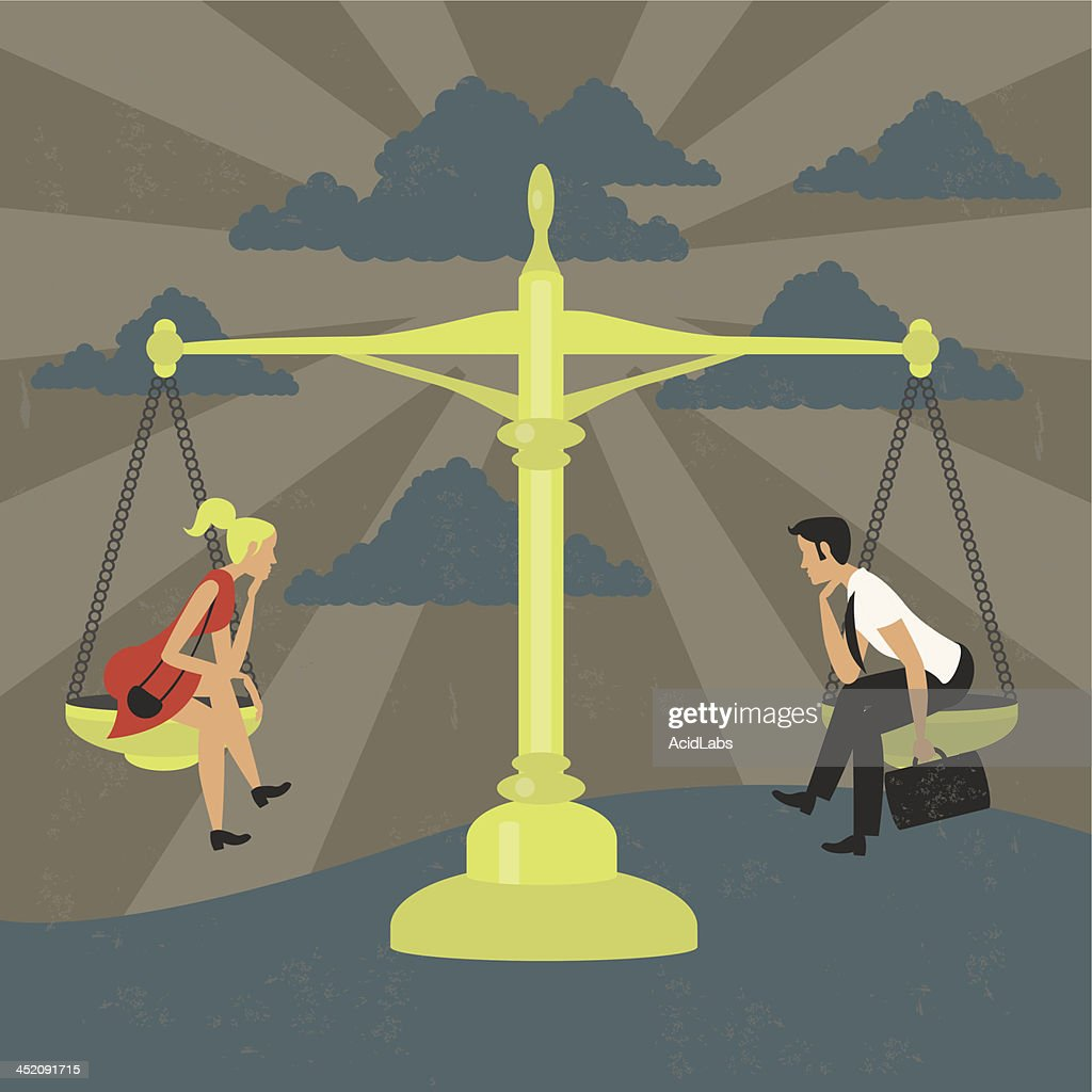 Gender equality of man and woman on a balance