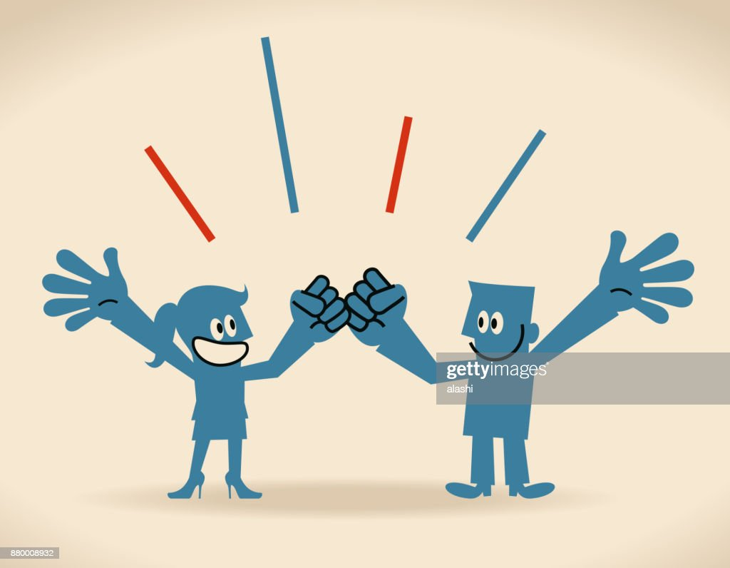 Gender Equality, smiling businessman and businesswoman cheering with fist bump and hand raised : Vector Art
