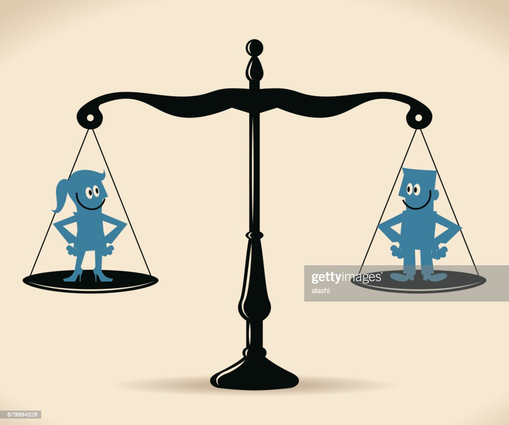 Gender Equality, smiling businessman and businesswoman standing on equal-arm balance scale : stock illustration