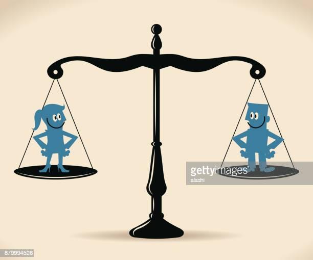 男女共同参画、笑みを浮かべてビジネスマンとビジネスウーマンの等しいアーム バランスのスケールの上に立って - ジェンダー・ステレオタイプ点のイラスト素材/クリップアート素材/マンガ素材/アイコン素材