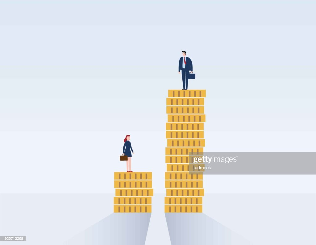 Gender gap and inequality in salary, pay vector concept. Businessman and businesswoman on piles of coins. discrimination, difference, injustice. Vector illustration flat cartoon character design