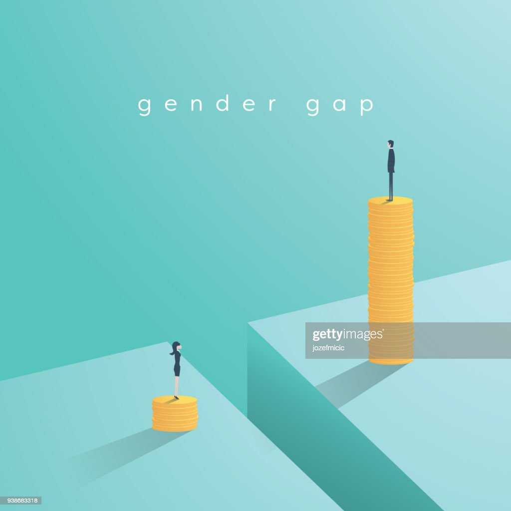 Gender gap and inequality in salary, pay vector concept. Businessman and businesswoman on piles of coins. Symbol of discrimination, difference, injustice