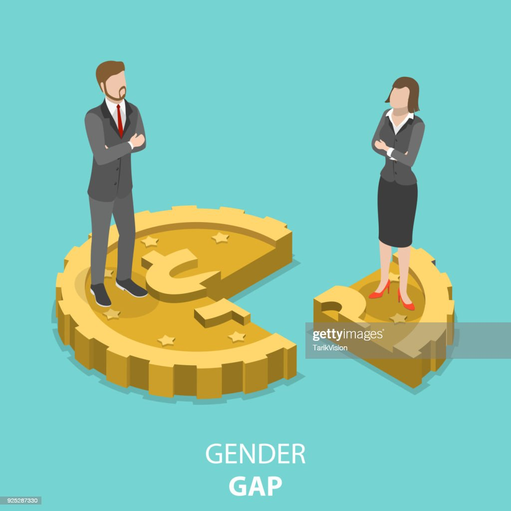 Gender gap flat isometric vector concept.