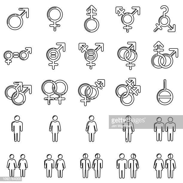 geschlecht / sexualität line symbol - männliche person stock-grafiken, -clipart, -cartoons und -symbole