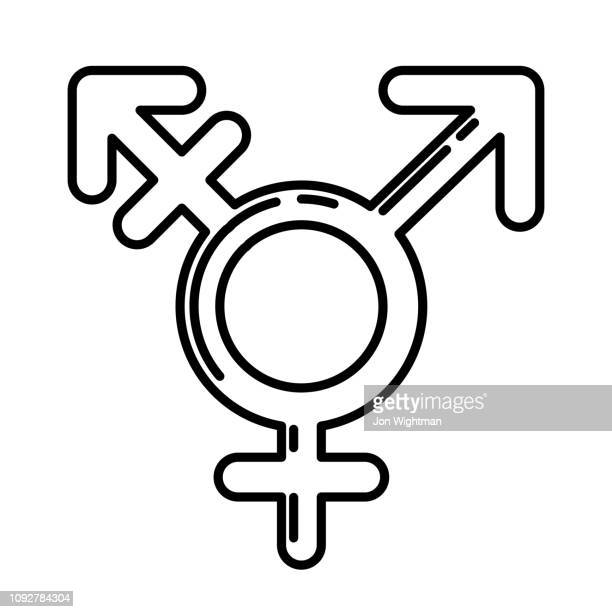gender / sexuality line icon - androgynous stock illustrations, clip art, cartoons, & icons