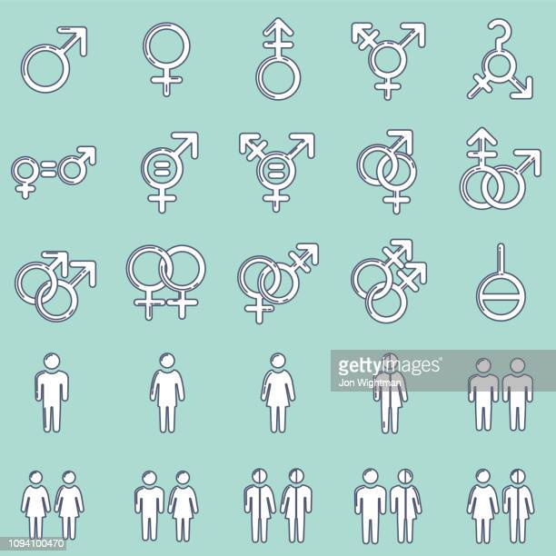 gender / sexuality line icon - bisexuality stock illustrations, clip art, cartoons, & icons