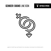 gender signs line icon editable stroke