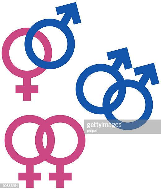gender, union symbols (vector) stock illustration - bisexuality stock illustrations, clip art, cartoons, & icons