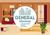 General Cleaning Apartment. Vector Illustration.