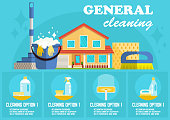 General Cleaning. Vector Flat Illustration.
