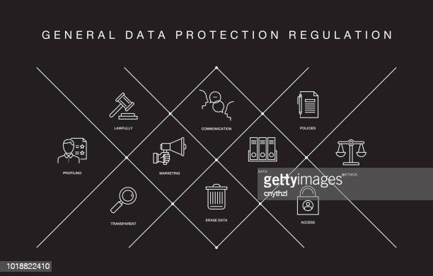 general data protection regulation line icons - confidential stock illustrations