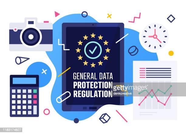 general data protection regulation vector illustration design - encryption stock illustrations