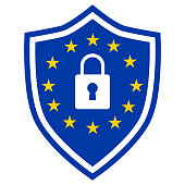 GDPR - General Data Protection Regulation, vector shield icon with padlock