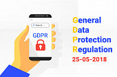 GDPR - General Data Protection Security technology background. phone in hand. Vector
