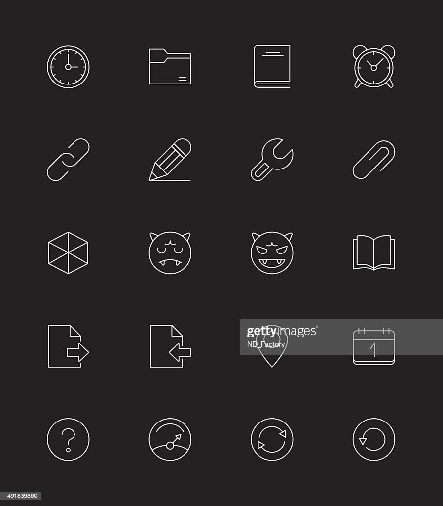 General icons Set 2, Thin line - Vector Illustration